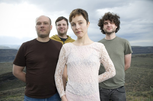 GEORGE, UNITED STATES - MAY 25: (From left) Ben Ivascu, Drew Christopherson, Channy and Chris Bierden of Polica pose for a portrait backstage at the Sasquatch Music Festival in George, Washington, United States, on 25th May 2012. (Photo by Steven Dewall/Redferns)